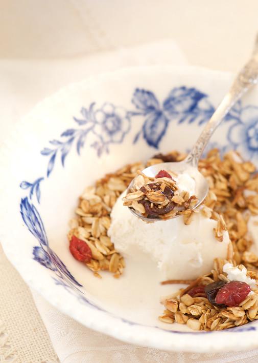 spoon of frozen yogurt
