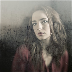 rainy afternoons (biancavanderwerf) Tags: portrait woman window glass girl rain lensbaby square model gloomy bianca dreamcatcher