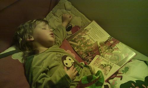Janne slaapt/leest