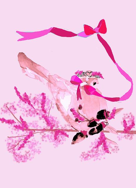 pink bird opposite