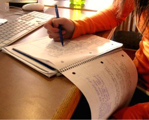 An HHS student studying for mid-terms in the library. Photo by Kellie Lodge