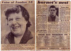 'The voice of London SE' and the middleweight champion (Steve Bowbrick) Tags: elephant london castle newspaper emily aunt memory cutting boxer southwark hopping se1 rothery hoppicking redemma patmacateer walhannington