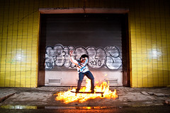 Fireshot Maarten (Vincent van Es) Tags: hot texture sunglasses outside fire crazy warm unique garage flash location heat longboard potrait oakley flashes matchsticks barendrecht offshoe strobist canon430 canon40d maartenvanes