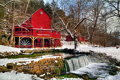 Hodgson Mill in Winter (Uncle Phooey) Tags: county winter red snow mill nature water country gainesville scenic missouri ozarks hdr ozark gristmill hodgson grist hodgsonmill southwestmissouri ozarkcounty hodgsonwatermill scenicmissouri