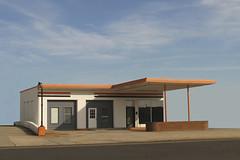 ABANDONED (NC Cigany) Tags: street blue sky orange abandoned nc streetlamp empty bricks gasstation deco sanford 7706 hopperish