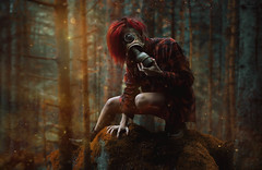 The Last of Us. (Megan Glc Photographe) Tags: thelastofus apocalyptic apocalypse endoftheworld radioactive particles spores dust zombies gasmask mask monster mutant creature woods forest trees hair dark horror surreal magical photomanipulation manipulation portrait girl model exterior light strange mysterious