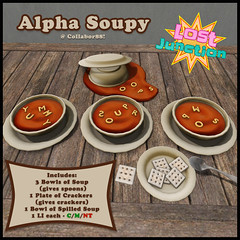 [LJ] Alpha Soupy - Tonight at Collabor88! (Tala Laval) Tags: soup alphabet tomato food server giver autumn oops spilled crackers saltines lost junction