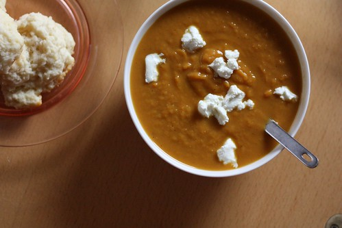 Curried Sweet Potato Soup with Goat Cheese