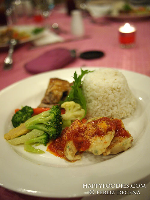 Rosemary Chicken and Fish Fillet with Marinara Sauce