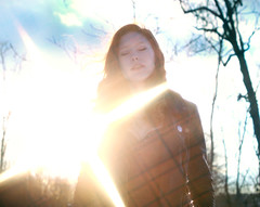 Shine Winter Sun (cscalzphotography) Tags: blue trees sunset red sky sun leather yellow hair star eyes closed bokeh courtney jacket curly filter flare kristie sunflare scalzo cscalzphotography
