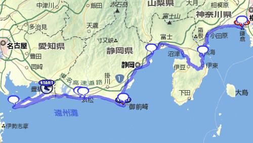 BRM129 豊橋-鎌倉400の地図