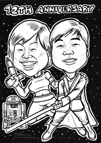 Star Wars couple caricatures