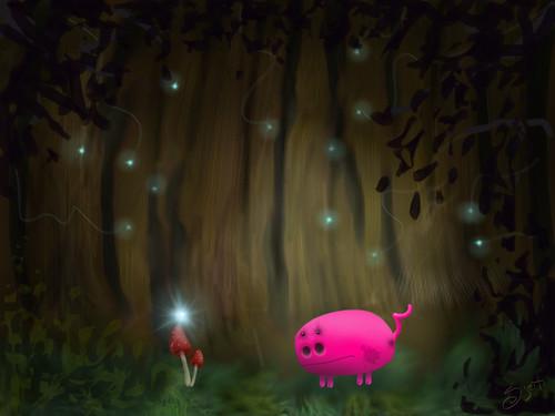Pig in woods