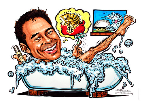 caricature for P&G in bathtub