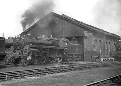 BR class 5MT no.73018. Bridlington shed. 18 May 1952 (ricsrailpics) Tags: uk yorkshire shed steam bridlington 1952 460 class5mt exbr