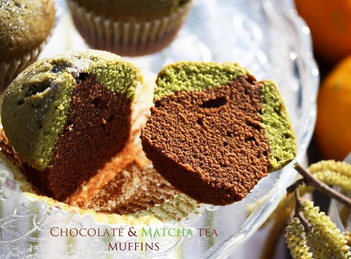Chocolate and Matcha tea muffins
