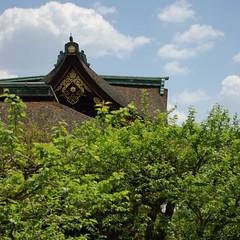 Un bout de toit qui dpasse... (Pingouin  roulettes) Tags: architecture geotagged shrine asie japon jpn kyto honsh kitanotenmangshrine sanctuairekitanotenmang