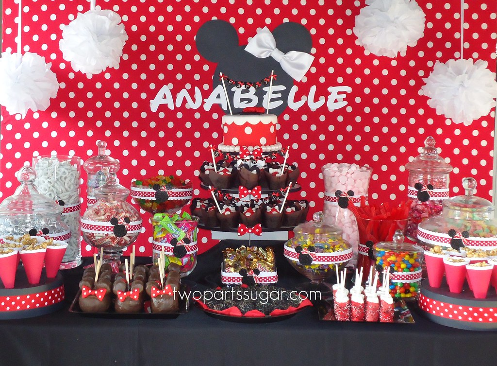 Minnie Mouse SUGAR STATION Two Parts Sugar Tags County Party Orange Cakes