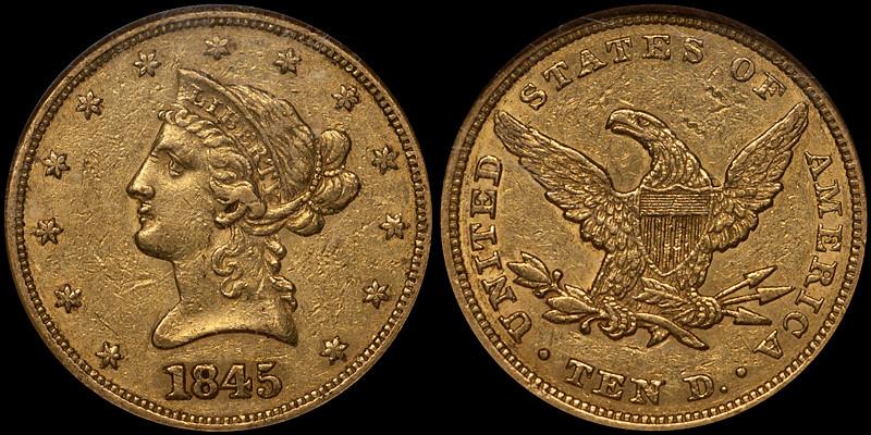 1845 $10.00 NGC AU53