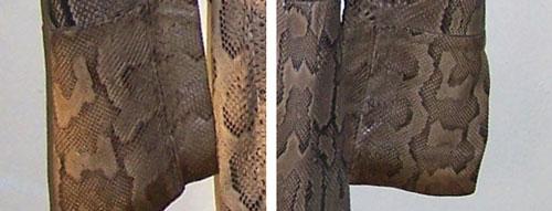 Ossie Clark python coat: cuffs