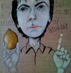 autoportrait avec citron (Tazab) Tags: portrait selfportrait art painting lemon acrylic autoportrait picture peinture citron citation