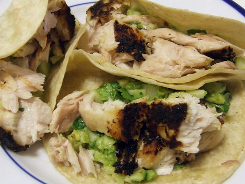 Snapper Tacos with Avocado, Cilantro & Radish relish