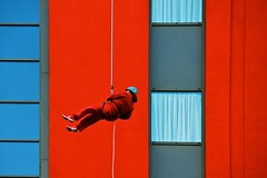 (martinpickard) Tags: red window mailbox birmingham abseil