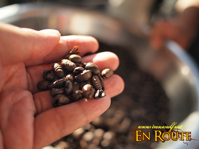 Freshly roasted Alamid Coffee beans