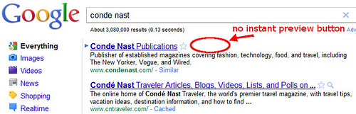 Condé Nast has no Instant Preview button