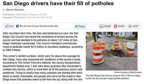 New Orleans Pothole Migrates to California