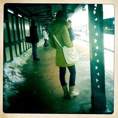 waiting at 74th (bondidwhat) Tags: city nyc newyorkcity urban station train subway publictransportation candid platform january citylife streetphotography commute everyday jacksonheights urbanlife streetcandid