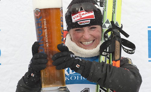 Germany's Andrea Henkel enjoys an Erdinger Alkoholfrei after finishing second in the World Cup biathlon women's 12.5 km mass start last week. (Don Emmert/AFP/Getty Images)