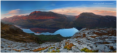Slioch Panorama (Dylan Toh) Tags: uk light sunset panorama sunlight lake reflection landscape photography scotland moss dusk panoramic granite loch maree slioch everlook