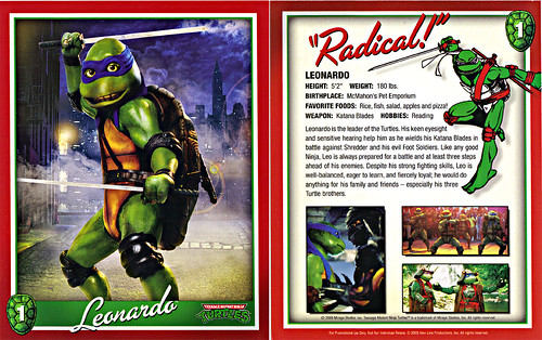 TEENAGE MUTANT NINJA TURTLES :: 25th Anniversary Collector's Edition { 4 Blu-ray Movie Disc set } .. // Character Card #1; Leonardo  (( 2009 ))