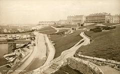 Plymouth Hoe, c.1920? (Richard and Gill) Tags: old blackandwhite pier postcard plymouth devon esplanade promenade hoe belvedere seafront grandhotel slopes prewar