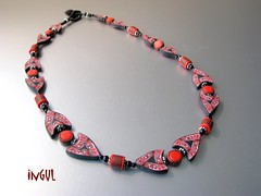 Schwarz-rot 3 (Ingul-design) Tags: necklace unique jewelry polymerclay fimo kato premo ketten handarbeit handcraftet
