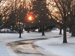Druid Ridge Cemetery - Pikesville MD (karma (Karen)) Tags: trees winter cemeteries snow headstones sunsets maryland paths magichour druidridge baltimoreco