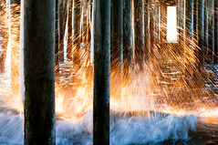 Sparks (moe chen) Tags: ocean old sun seascape beach sunrise dawn pier nikon wave orchard spray moe pilings sparks f28 chen 70200mm oob