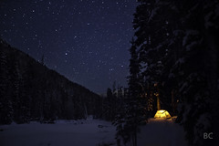 Cold, Sweet, Cold (Ben Canales) Tags: longexposure blue camping trees winter light orange snow mountains cold ice oregon forest stars star woods glow hiking freezing tent backpacking cascades mthood glowing lit starry tenting bencanales thestartrail tentunderthestars