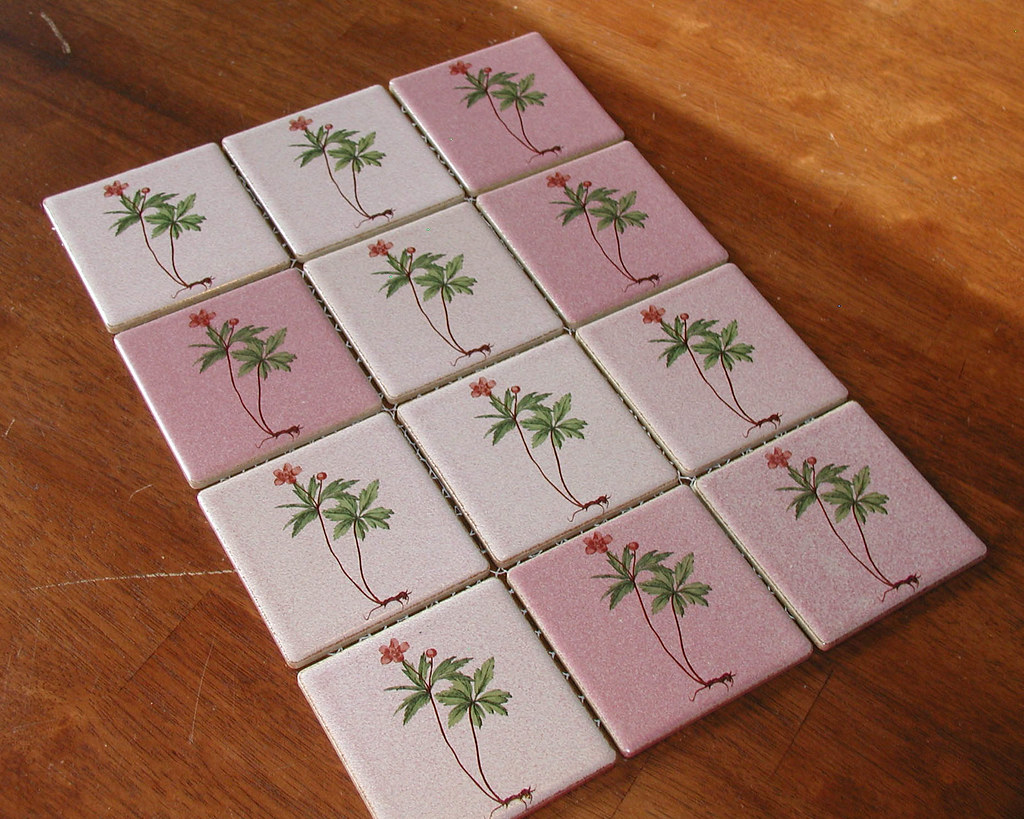 Salvaged Ceramic Tiles - Tropical Fronds & Flowers
