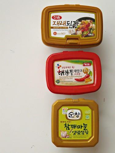 Three Korean Seasoning Pastes - Doenjang, Gochujang, Ssamjang