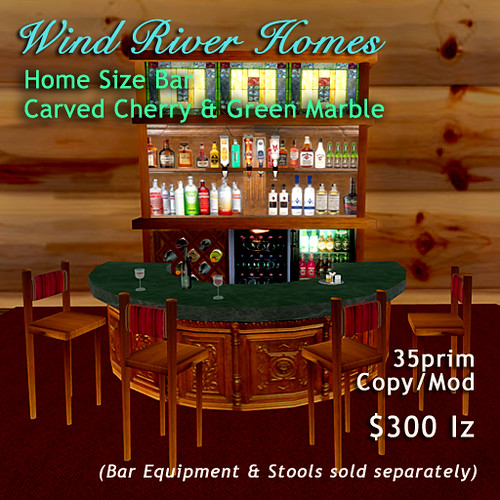 Home Bar - carved wood and green marble