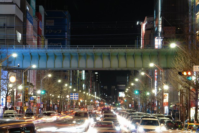 Traffic jam in Akihabara main street.