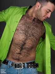 Gabriel 02 (WF portraits) Tags: bear portrait hairy black male green shirt studio naked nude beard model chest piercing irq