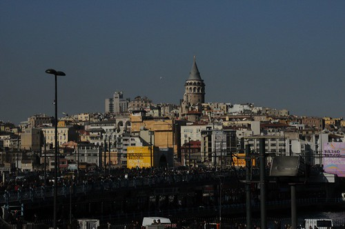 Tower of Galata, check out the pedestrians on the bridge!