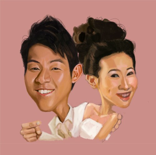 digital couple caricatures - Eugene - 3