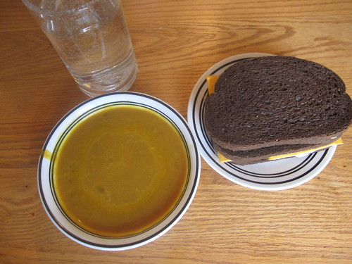 Pumpkin soup and sandwiches