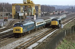 45137 and 46003 Beeston 19Mar77 (david.hayes77) Tags: nottingham peak beeston freightliner class45 45137 class46 46003 bootsbridge