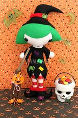 Witchinia photo print (Ana Camamiel) Tags: cute halloween print pumpkin skulls photo doll handmade witch felt calabaza reproduction broomstick mueca bruja escoba fieltro
