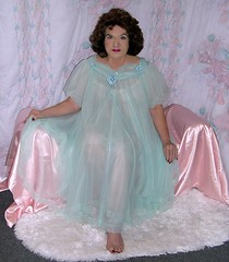My sea green nightgown (Sugarbarre2) Tags: city blue party people urban woman baby white feet girl fashion self vintage photo nikon doll paint image mature wife sheer